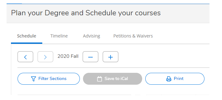 Plan your Degree and Schedule your courses screen with the print button.