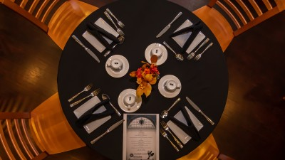 Table setting in the culinary restaurant