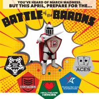 Barry standing in center with various team logos below him and Battle of the Barons across the top