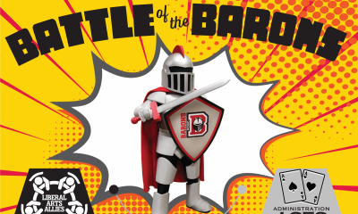 Barry standing above various team logos with Battle of the Barons written across the top