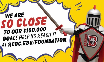 """Barry with speech bubble saying """"we are so close to our $100,000 goal! help us reach it at rcbc.edu/foundation!"""""""