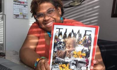 Lavett Ballard holding TIME magazine cover