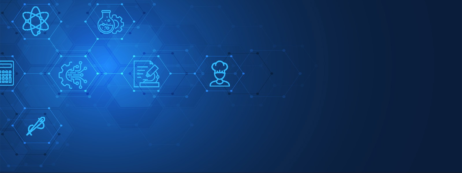blue background with various science icons to the left