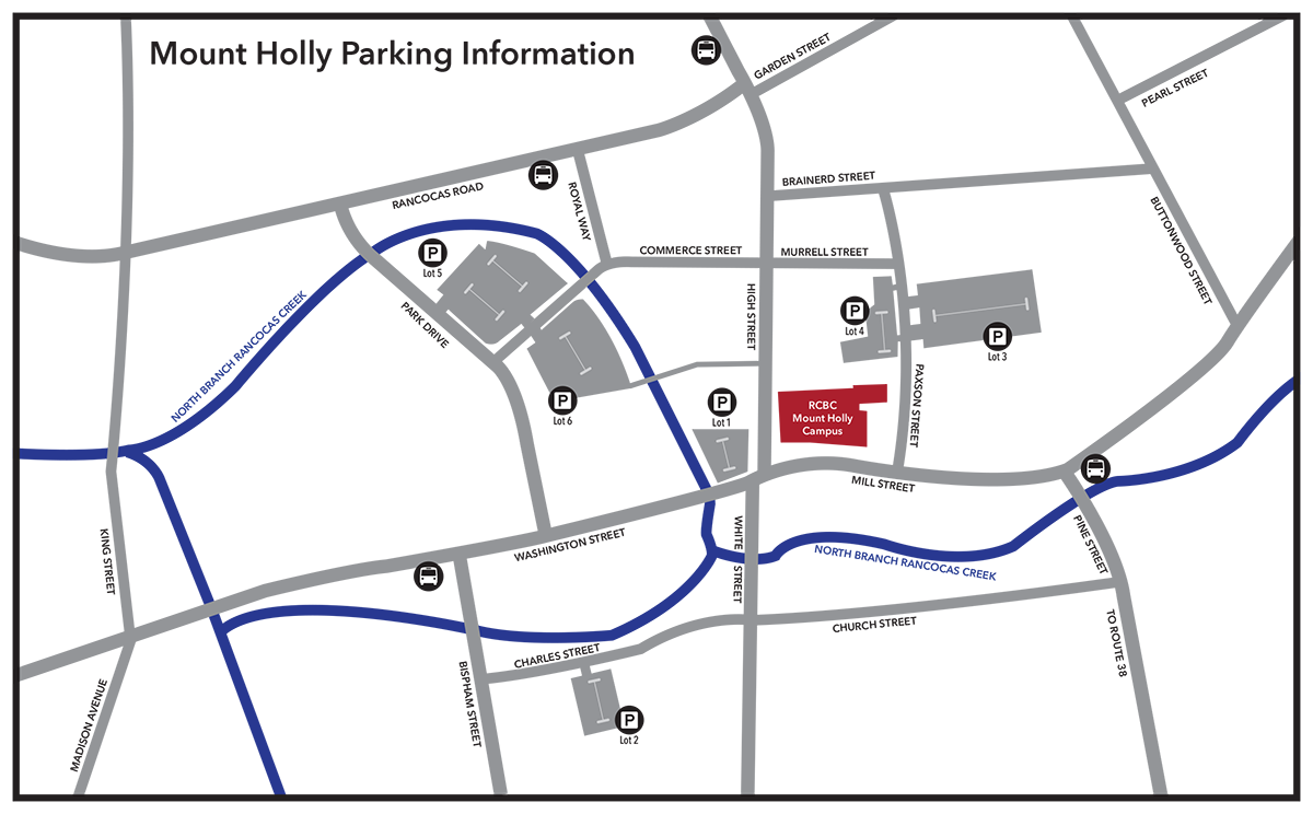 Map of Mount Holly with campus and available parking marked.