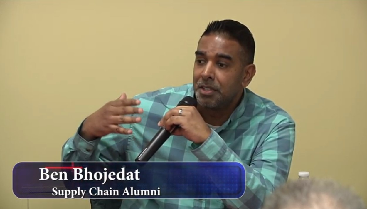 Ben Bhojedat speaking at a panel for WDI event
