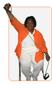 An older woman doing exercises with a stretch band in a chair