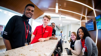 student workers at help desk