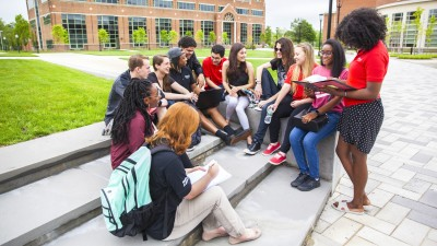 Group of students hanging out in the quad
